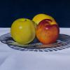 """Three Earth Toned Apples"", 4"" x 6"", oil on panel, Robert K. Roark, SOLD"