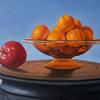 """Transparent Oranges and Apple"", 6"" x 8"", oil on panel, Robert K. Roark, SOLD"